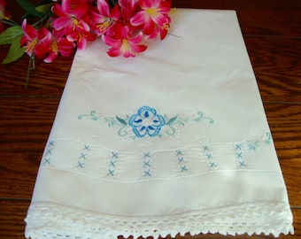 White Single Pillowcase Blue Floral Embroidery with White Crochet Trim Vintage Bedding Bed Linens Pillow Cover