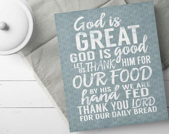 Dining Room Gallery Wall - Kitchen Canvas Wall Art - Dining Room Canvas Art - God Is Great God Is Good - Country Dining Room - Rustic Signs