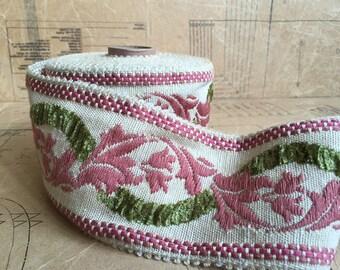 Vintage Floral Tapestry Ribbon. Pinks & Greens (length 1m or 1.09 yards)