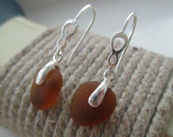 Brown Sea Glass Sterling Silver Earrings
