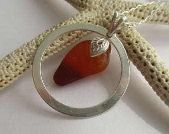 Amberina Sea Glass Sterling Silver Circle Necklace