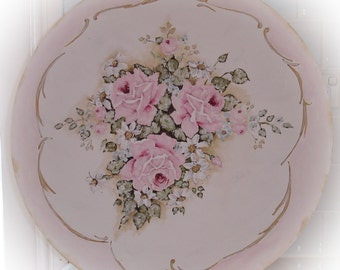 Original Shabby Style French Aubusson inspired Rose Painting on board