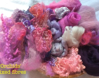 Dyed British Rare Breeds & Mixed Fibres for Blending. 160gms. Spinning, Felting supply. Kids Summer fun  'Orchids' Colourway