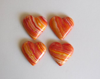 Polymer Clay Heart Cabochons, set of 4, orange yellow and red hearts