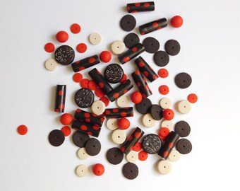 Polymer clay beads for jewelry and crafts, espresso brown and red beads, mixed set of 77 beads