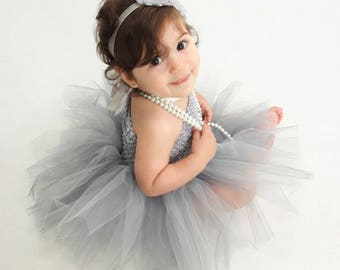 Tutu Dress, 3-6 Months, Baby Girls, Matching Headband, Ready To Ship, Silver Gray