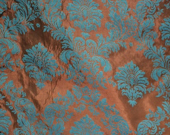 Jade Brown Taffeta Black Flocking Damask fabric per yard