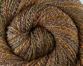 Handspun Yarn, 2 ply - WHISKEY BARREL - Handpainted 60/40 Merino / Bamboo yarn, Worsted weight, 248 yards