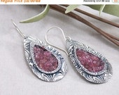 ON SALE: Sterling Silver & Pink Tourmaline Chip Inlay PMC Metal Clay Earrings