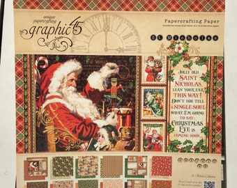Graphic 45 St. Nicholas Collection of unique paper crafting 12X12 papers, 24 sheets in pad, for scrapbooking, card making, canvas art