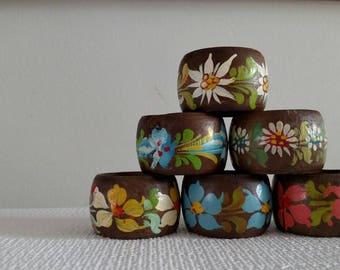 Handpainted Vintage Floral Napkin Rings