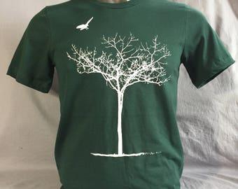 Unisex T Shirt, Tree T Shirt, Winter, Tree, Crow, Spooky Tree