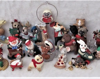 Vintage Lot of 25 Hallmark Christmas animal santas ornaments 1970s to 1990s - 2.80 each STEAL