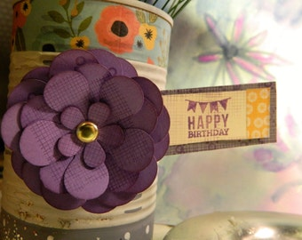 NEW - Paper flower magnets - Set of 6 -  Handcut paper flowers