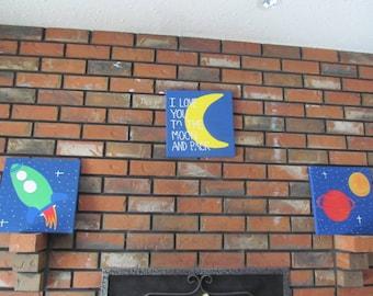 Boys Wall Art, Space Art, Planet Art, Set of 3 12x12 canvas art, Nursery Art, Boys Room Decor, Girls Room Decor, I love you to the moon