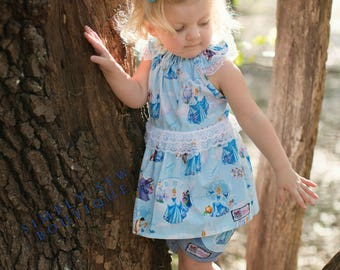 Girls Toddler Disney Cinderella lace tunic with chambray lace pocket shorts  2T 3T 4T 5T 6 6x