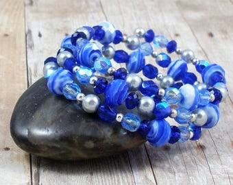 Shades of Blue Beaded Wrap Around Coiled Bracelet Memory Wire