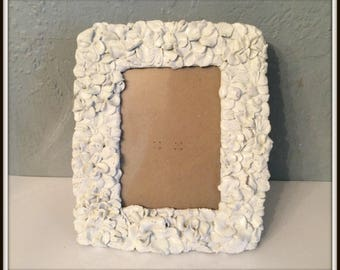 "REDUCED Upcycled Flower Picture Frame ~ 4"" x 6"" Frame Opening ~ Shabby Chic Heirloom White ~ Distressed ~ Paris Apartment ~ Country Cottage"