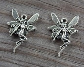 10 Silver Fairy Charms Antiqued Silver 23mm