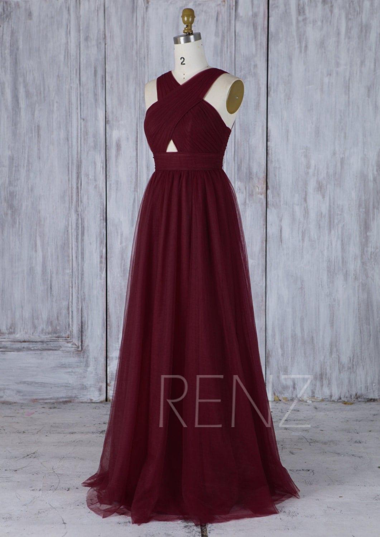 2017 Wine Tulle Bridesmaid Dress,