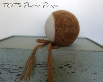 Simple Alpaca Brown Newborn Baby Bonnet Hat Photo Prop, Infant Bonnet MADE TO ORDER