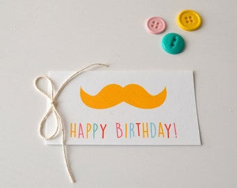 Happy Birthday Mustache Gift Tags - Gift Packaging - Set of 10 - Mustache Tags