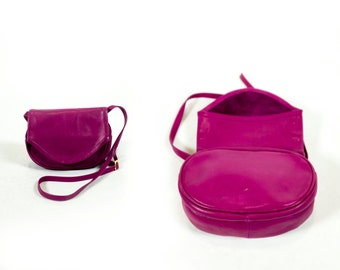 Vintage 1980s Hot Pink Butter Soft Leather Foldover Round Crossbody Purse Bag