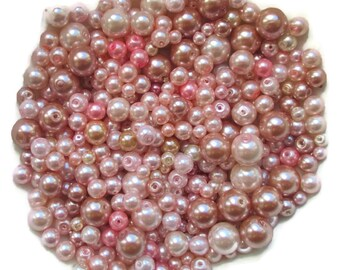 Destash/Pink Glass Pearls/Mixture of Sizes 10mm to 4mm/Mixture of Colors