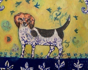 Beagle Art Original Painting Beagle Wall Art Beagle Decor Home Decor Animal Art Dog Art Painting Paper