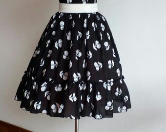 Inspierd by 1950s Rockabilly Black chery sundress, party dress, Summer Dress