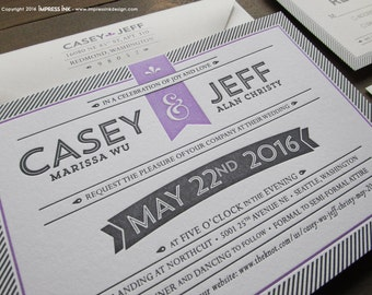 Letterpress Invitation Sample Pinstripes Modern Typography Wedding Invitation