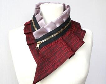 Women's accessories, silk collar necklace, silk scarf necklace, silk collar, women's collar, bib necklace, burning man fashion #208