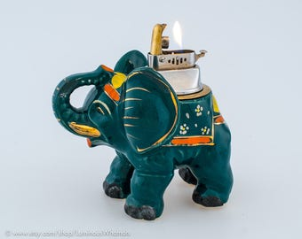 Working Lucky Elephant Table Lighter With Handpainted Finish - Made In Occupied Japan
