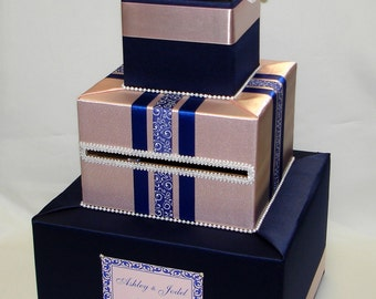 Navy Blue and Blush Pink Card Box