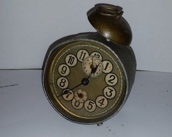 Antique metal alarm clock with character has face key gears glass parts pieces assemblage mixed media art steam punk  Vintage supplies