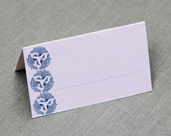 Blue and White Place Cards, Asian Motif Place Cards, With or Whitout fill-in Line,Set of 12