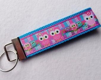 Key Fob/ Wristlet/ Keychain /Owl patch work print  /Ready to Ship