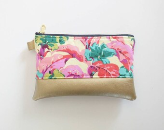 Tropical floral coin purse with gold fauxleather