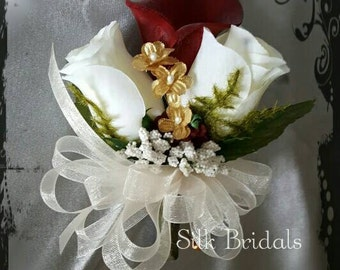 Deep burgundy ivory and gold calla lily and roses WRIST Corsage Wedding Bridal flowers mother grandmother