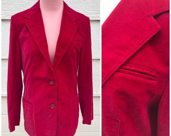 70s deep red velvet Blazer jacket