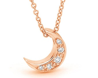 Rose Gold Diamond Baby Crescent Moon Necklace, small rose 9ct, 9k Gold and diamond moon pendant on a rose gold chain