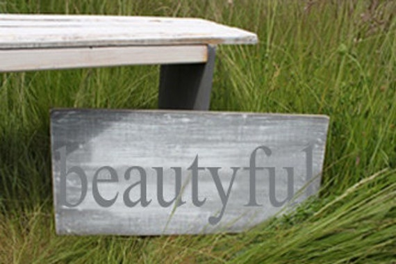 Distressed Aged Pine Wood Wall Art 'BEAUTY'FUL Sign