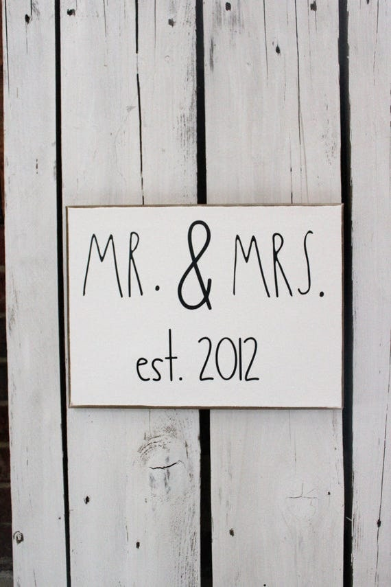 MR. & MRS. With Customized Date Wood and Canvas Wall Art Signs for your Rae Dunn Collection