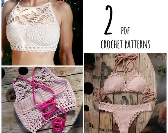 PDF-files for 2 Crochet PATTERNS, Luna cropped Crochet Top and Lorelei bikini top and Bottom, Sizes XS-L