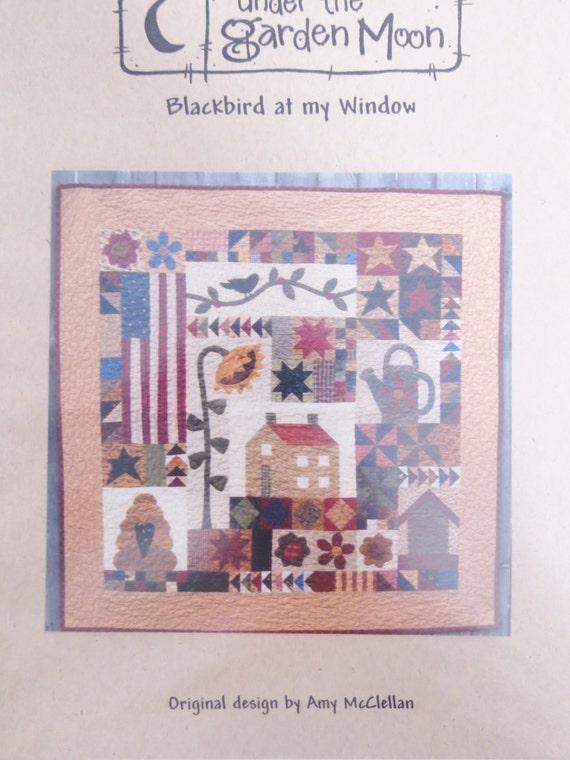 Blackbird at my window quilt pattern applique patchwork sunflower bird house flag garden theme for Under the garden moon