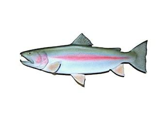 fishing gift, fishermen's gift, mens gift, Rainbow Trout, 34 inch, fishing art, fishing sculpture, wood fish art, wood fish sculpture