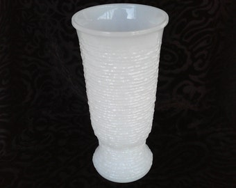 Milk Glass Tall Textured Vase - Wedding Vase - Centerpiece