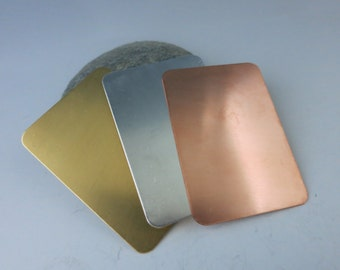 """Rectangle Stamping Blanks, 2"""" x 1 3/8"""", Brass, Copper or Aluminum, Set of 2, Ready to Ship!"""