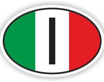 Italy I Country Code Oval Sticker with Flag for Bumper Laptop Book Fridge Motorcycle Helmet ToolBox Door PC Hard Hat Tool Box Locker Truck