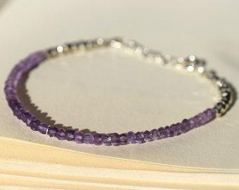 Purple Amethyst Bracelet, Sterling Bracelet, Stacking Bracelet, Beaded Skinny Bracelet, Purple Bracelet, Gemstone Bracelet, Silver Bracelet